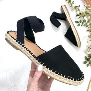 NWT! Suede Espadrille Crisscross Banded Sandals 9